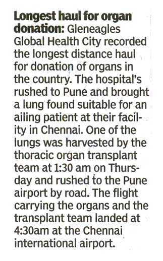 Gleneagles Global Hospital 18.08.2017 Times Of India Pg 04